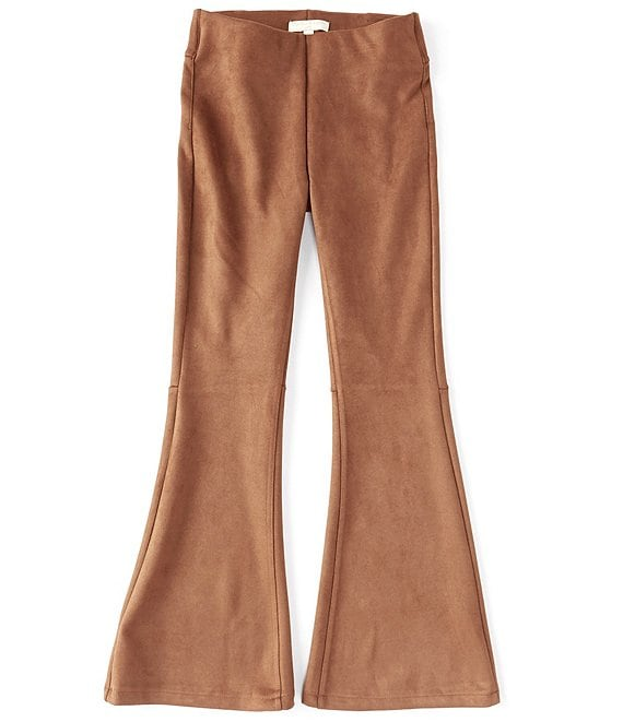 Color:Cognac - Image 1 - Chelsea & Violet Girls Big Girls 7-16 Faux-Suede Pull-On Flare Pants