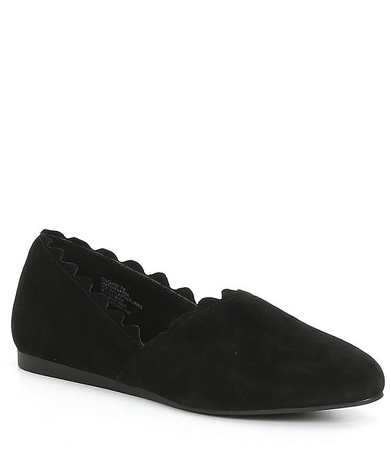 Color:Black - Image 1 - Clara Suede Scalloped Ballet Flats