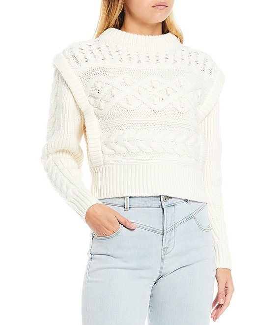 Color:Antique White - Image 1 - Embroidered Mock Neck Cable Knit Sweater
