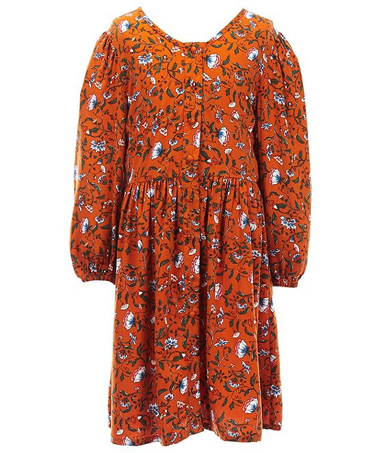 Color:Rust - Image 1 - Girls Big Girls 7-16 Floral Vine Print Peasant Dress