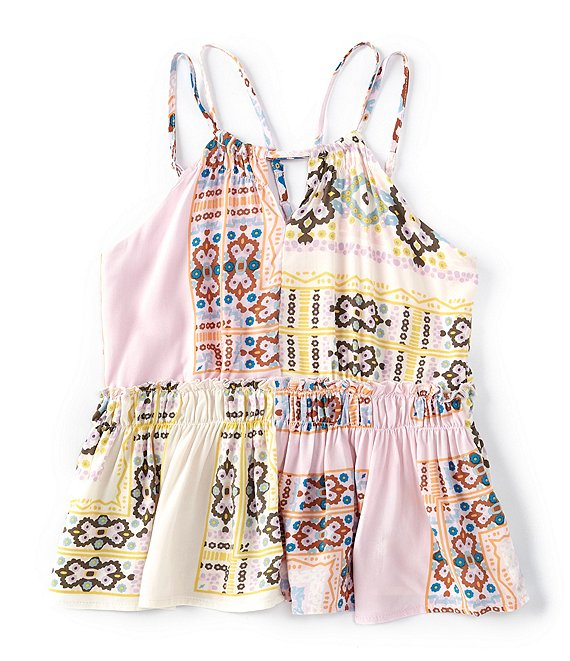 Color:Blush Multi - Image 1 - Girls Big Girls 7-16 Woven Printed Peplum Halter Tank Top
