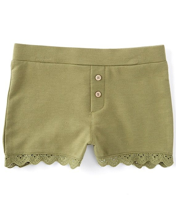 Color:Sage - Image 1 - Little Girls 2T-6X Knit Eyelet Shorts