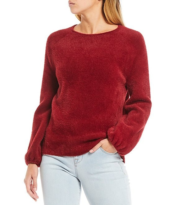 Color:Deep Red - Image 1 - Long Balloon Sleeve Short Eyelash Sweater