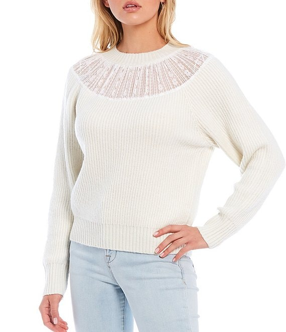 Color:Antique White - Image 1 - Long Sleeve Lace Inset Faux Mohair Sweater