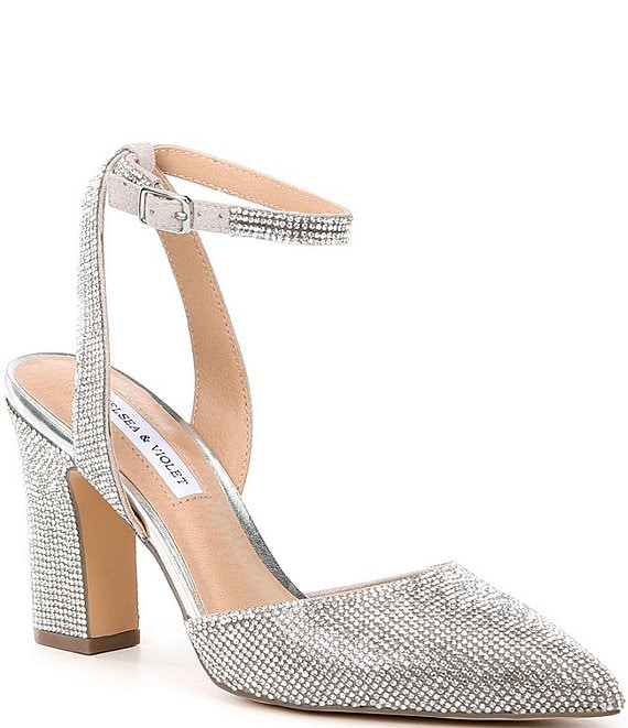 Color:Silver - Image 1 - Mary Rhinestone Embellished Pointed Toe Pumps