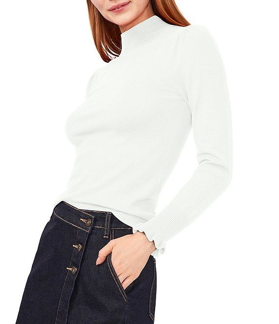Color:Antique White - Image 1 - Mock Neck Puffed Shoulder Ruffle Cuff Ribbed Long Sleeve Sweater