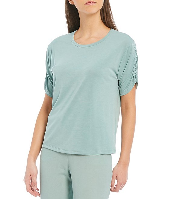Color:Deep Sage - Image 1 - Modal Ruched Short Sleeve Knit Top