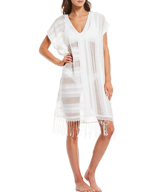 Color:Ivory - Image 1 - Open Weave Fringe Tunic Swimsuit Cover Up