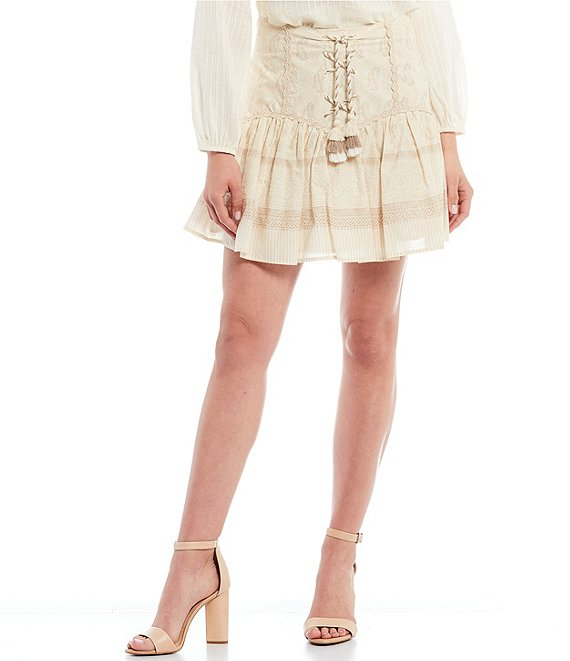 Color:Coconut Flax - Image 1 - Printed Cotton Lace-up Ruffle Mini Skirt