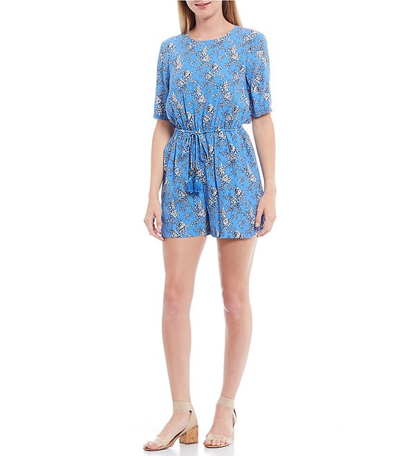 Color:Light Azul - Image 1 - Floral Printed Short Sleeve Open Back Romper