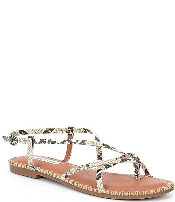 Color:Natural Snake - Image 1 - Rena Strappy Snake Print Leather Thong Sandals