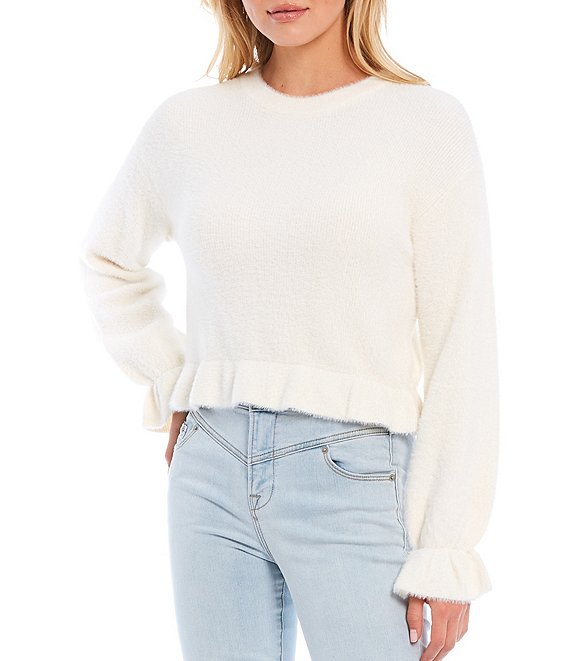 Color:Antique White - Image 1 - Short Eyelash Drop Shoulder Long Sleeve Peplum Sweater