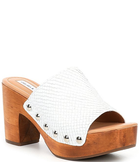 Color:White Snake - Image 1 - Vergr Snake Embossed Leather Studded Mules