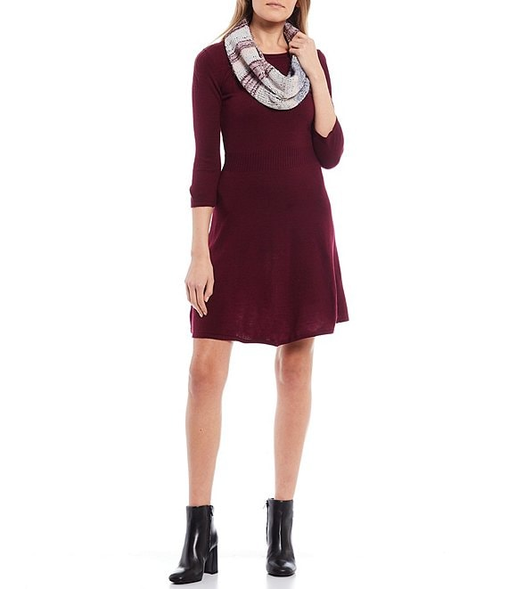 Color:Dark Red - Image 1 - I.N San Francisco 3/4 Sleeve Eyelash Scarf Sweater Dress