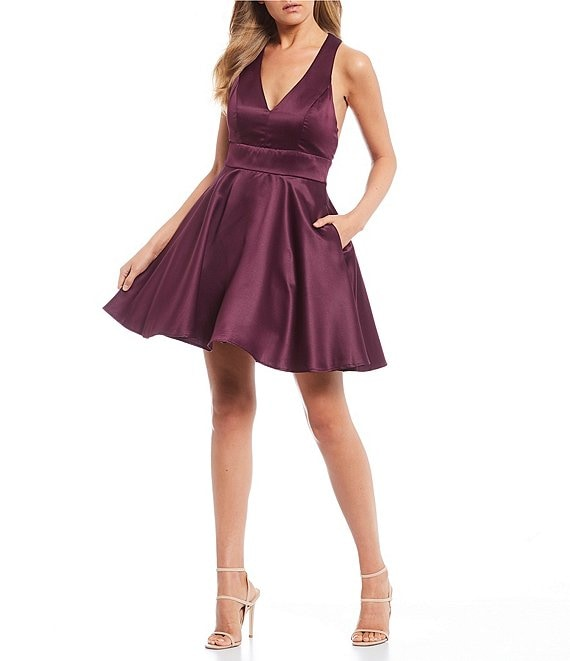 City Vibe Bow-Back Satin Fit-and-Flare Dress