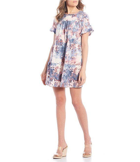 Color:Blue/Pink - Image 1 - Flutter Sleeve Tiered Tie-Dye Dress