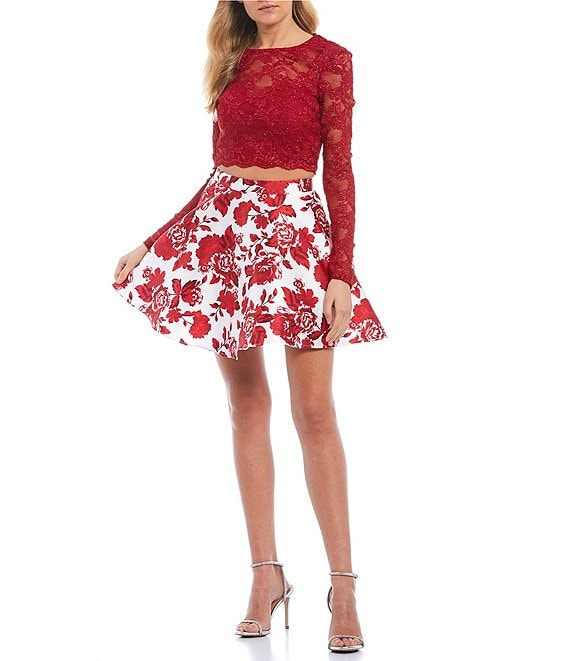 Color:Ruby/Ivory - Image 1 - Long Sleeve Lace Top with Floral Print Skirt Two-Piece Dress