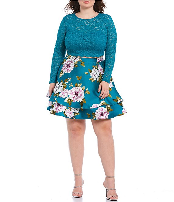 Color:Turquoise/Ivory - Image 1 - Plus Long Sleeve Lace with Floral Double Hem Two-Piece Dress