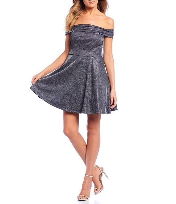 City Vibe Off-The-Shoulder Glitter Metallic Fit & Flare Dress