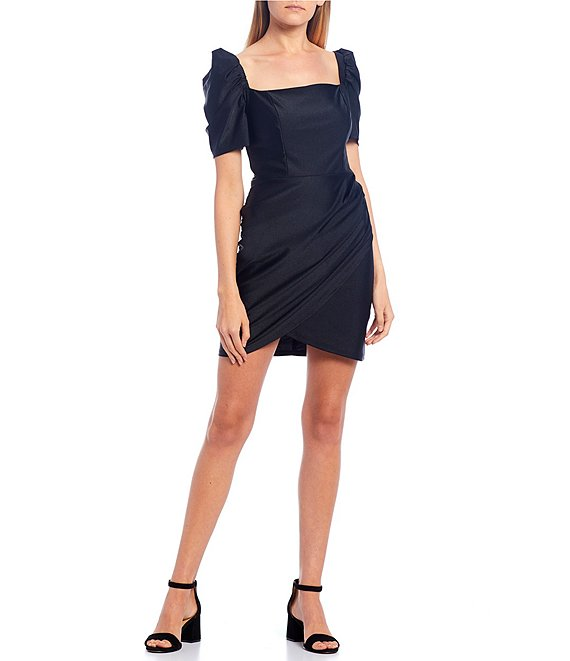 Color:Black - Image 1 - Puff Sleeve Square-Neck Ruched Faux-Wrap Dress