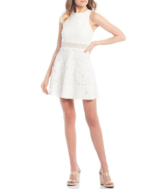 Color:Ivory - Image 1 - Sleeveless Lace X-Back Illusion Waist Fit-and-Flare Dress