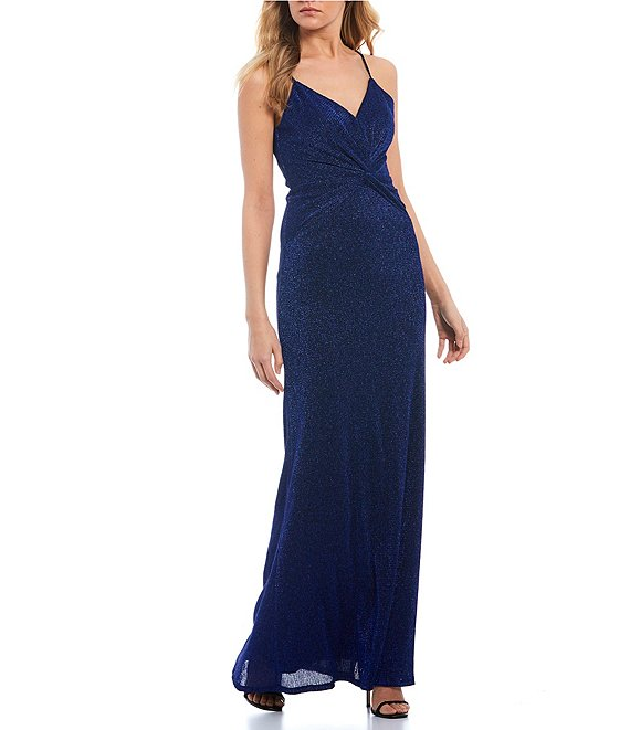Color:Royal - Image 1 - Spaghetti Strap Twist-Front Glitter Pleated Knit Long Dress