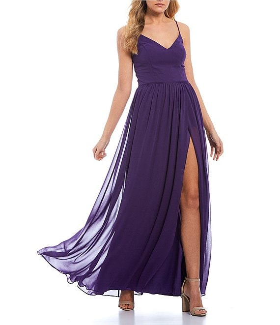 Color:Pale Grape - Image 1 - Spaghetti Strap V-Neck High Side Slit Chiffon Long Dress