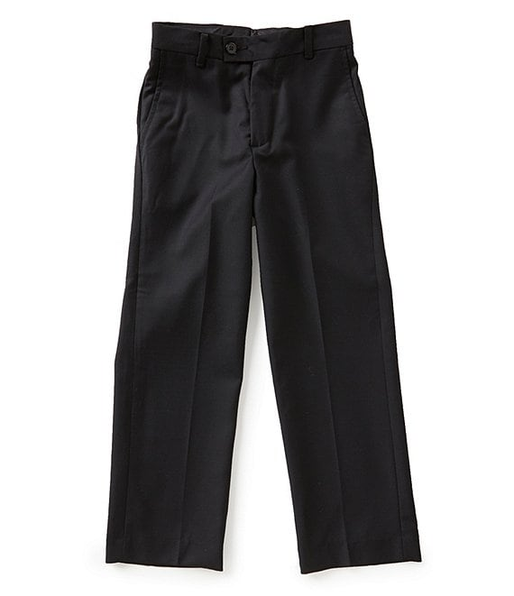 Color:Black - Image 1 - Big Boys 8-20 Flat-Front Slim-Fit Pants