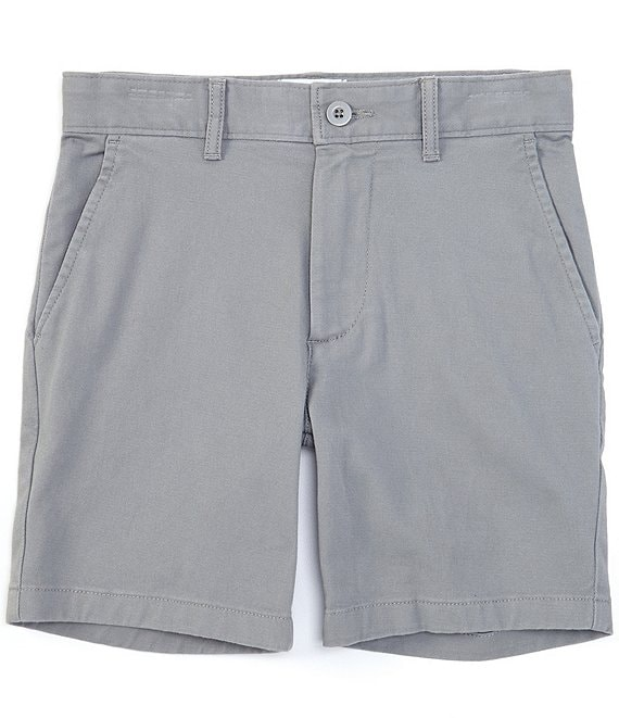 Color:Medium Grey - Image 1 - Big Boys 8-20 Flat-Front Stretch Twill Shorts