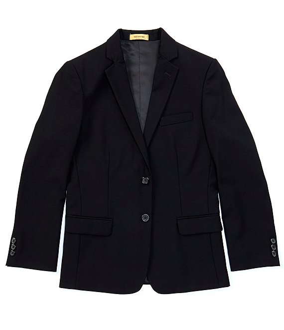 Color:Black - Image 1 - Gold Label Big Boys 8-20 Black Single-Breasted Blazer