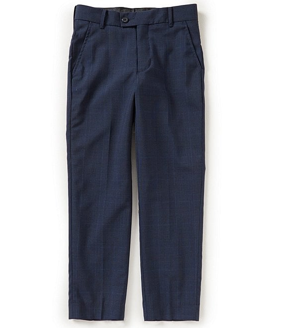Color:Navy - Image 1 - Gold Label Big Boys 8-20 Glen Plaid Pants