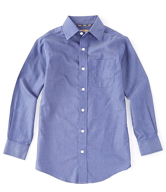 Class Club Gold Label Big Boys 8-20 Long-Sleeve Non-Iron Denim Texture Dress Shirt