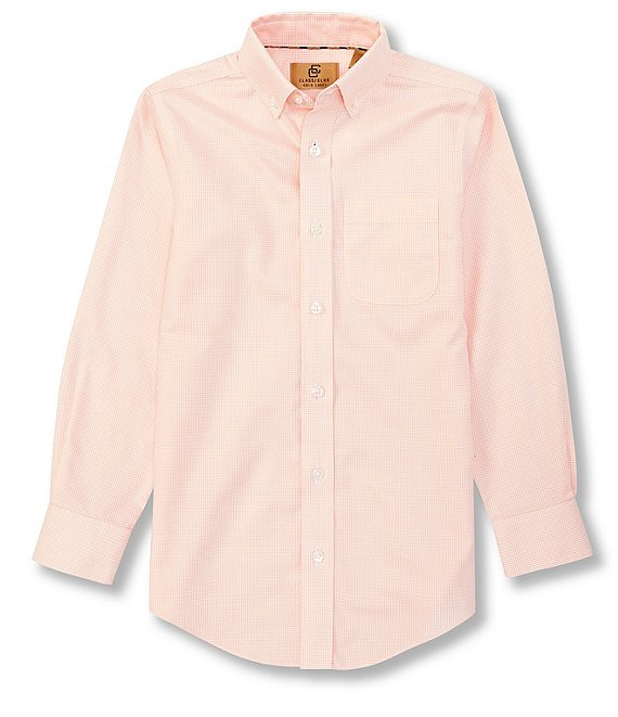 Color:Peach - Image 1 - Gold Label Big Boys 8-20 Long Sleeve Non-Iron Tonal Gingham Button Front Shirt
