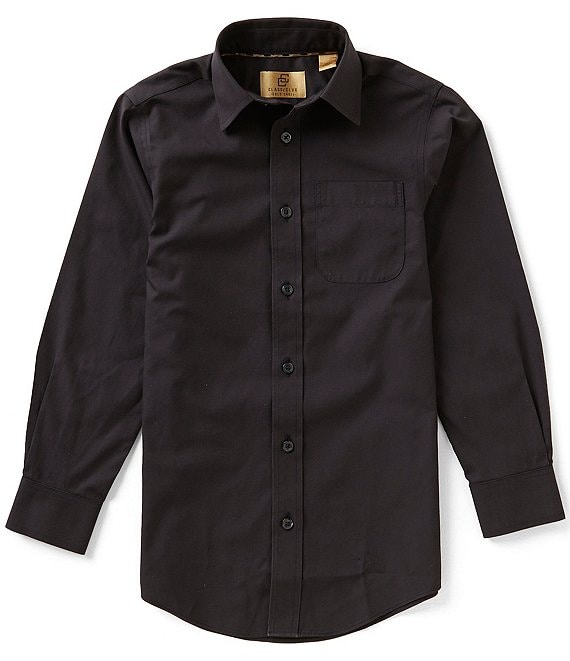Color:Black - Image 1 - Gold Label Big Boys 8-20 Non-Iron Solid Button-Front Dress Shirt