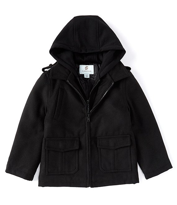 Color:Black - Image 1 - Little Boys 2T-7 Hooded Double Zip Front Military Jacket