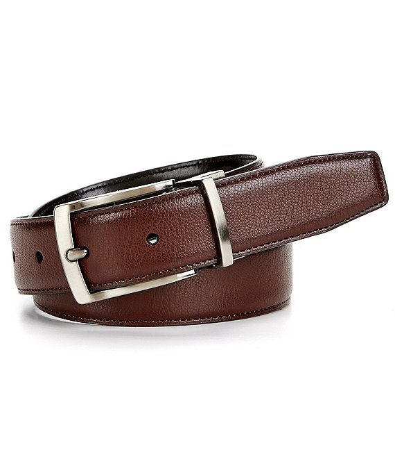 Color:Brown/Black - Image 1 - Boys Reversible Burnished-Edge Leather Belt