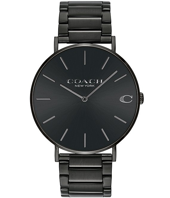 Color:Black - Image 1 - Charles Black IP Bracelet Watch