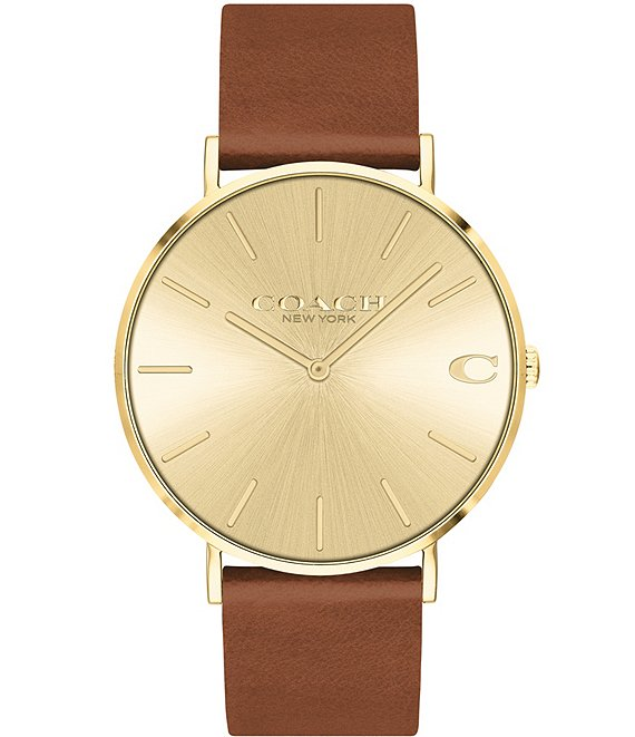 Color:Tan - Image 1 - Charles Saddle Leather Quartz Analog Watch