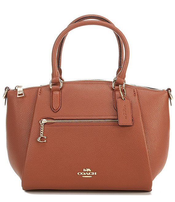 Color:1941 Saddle/Gold - Image 1 - Elise Pebbled Leather Medium Satchel Bag