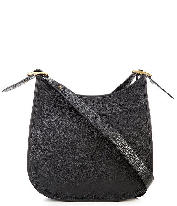 Color:Black/Brass - Image 1 - Emery Pebble Leather Zip Top Crossbody Bag