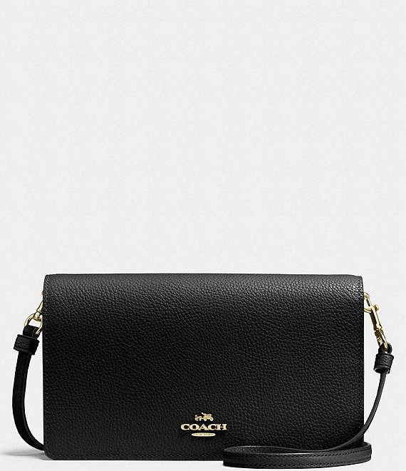 COACH Foldover Pebbled Leather Crossbody Clutch