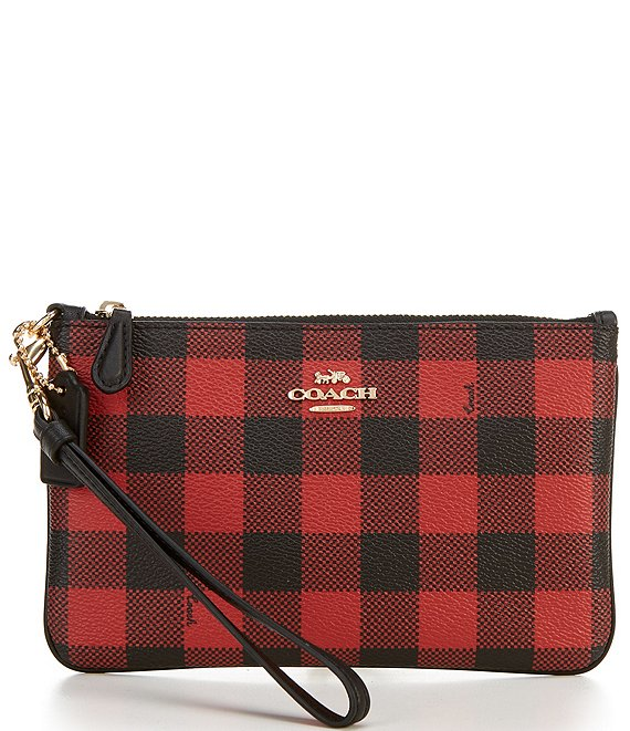 COACH Gingham Print Small Wristlet