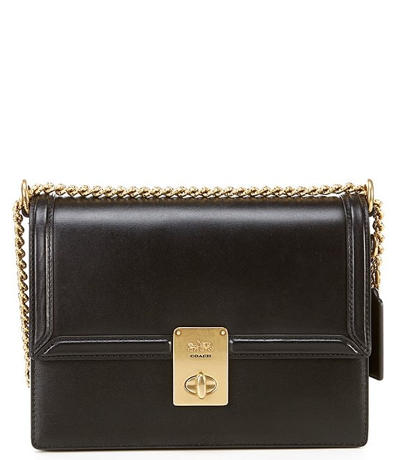 Color:Black/Brass - Image 1 - Hutton Leather Turnlock Chain Shoulder Bag