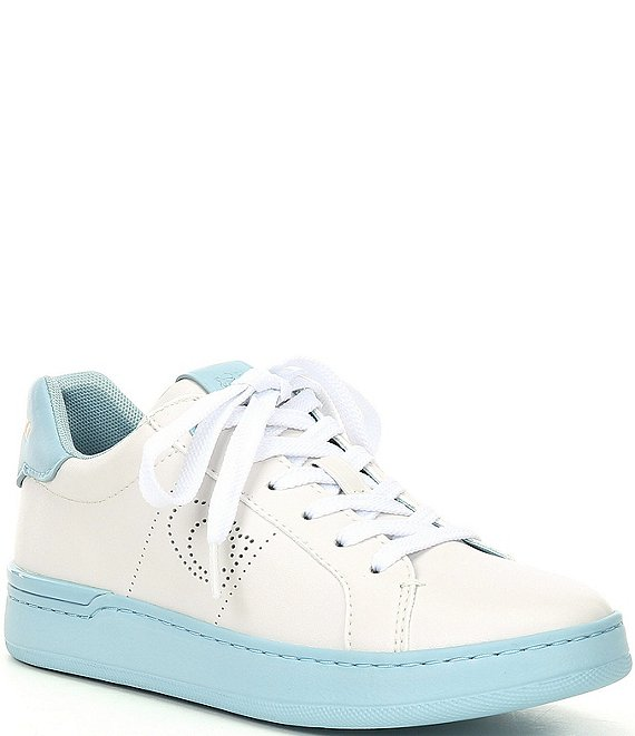 Color:White/Waterfall - Image 1 - Lowline Logo C Perforated Leather Lace-Up Sneakers