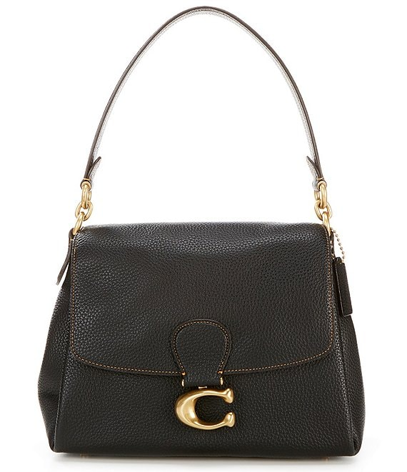 Color:Black/Brass - Image 1 - May Soft Pebble Leather Shoulder Bag