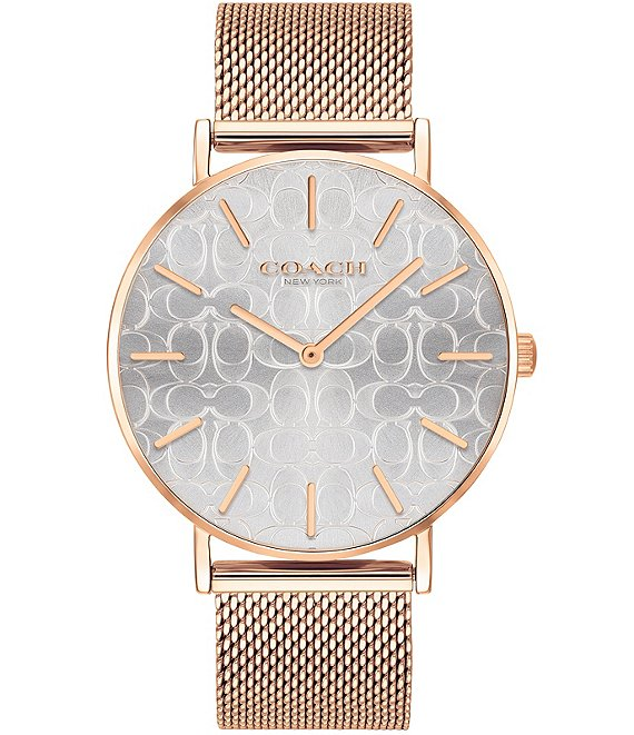 Color:Rose Gold - Image 1 - Perry Etched Signature Dial Rosegold Tone Mesh Bracelet Analog Watch