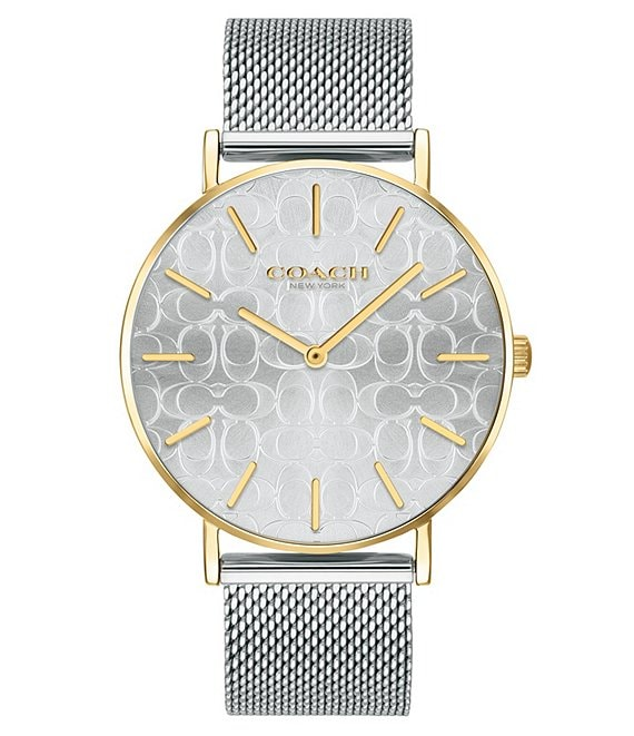 Color:Two Tone - Image 1 - Perry Etched Signature Dial Two Tone Mesh Bracelet Analog Watch