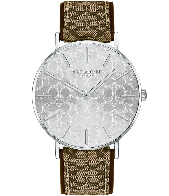Color:Brown - Image 1 - Perry Signature Jacquard Strap Analog Watch