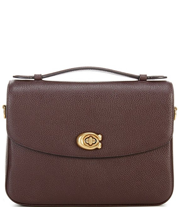 Color:Oxblood/Brass - Image 1 - Polished Pebbled Leather Cassie Crossbody Bag