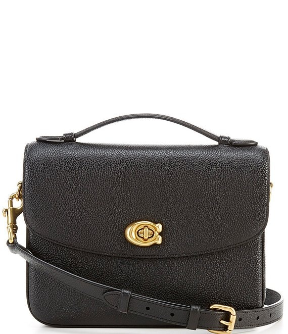 Color:Black/Brass - Image 1 - Polished Pebbled Leather Cassie Crossbody Bag
